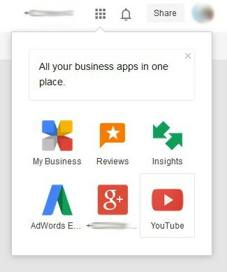 Google My Business app switcher