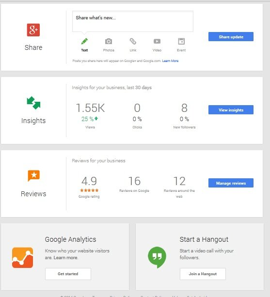 Google My Business dash overview