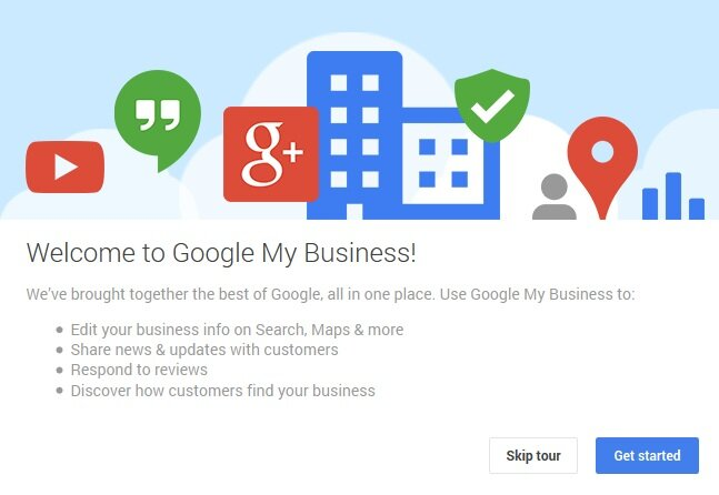 Google My Business welcome screen